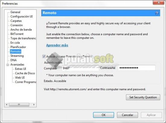 configuracion utorrent remote