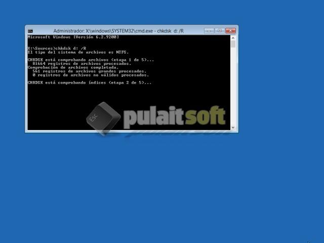 Chkdsk recuperando el sistema de archivos de Windows 8