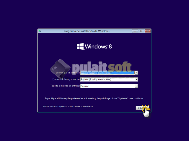 Especificar el idioma y preferencias de la instalación de Windows 8