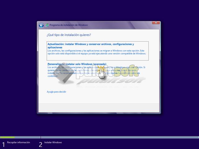 Elegir el tipo de instalación para Windows 8