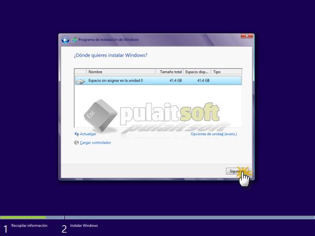 Elegimos donde queremos instalar Windows 8