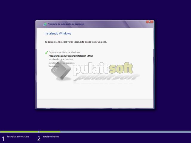 Programa de instalación expandiendo archivos para Windows 8