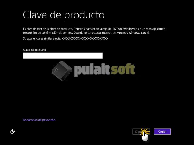 Introducir la clave del producto para Windows 8
