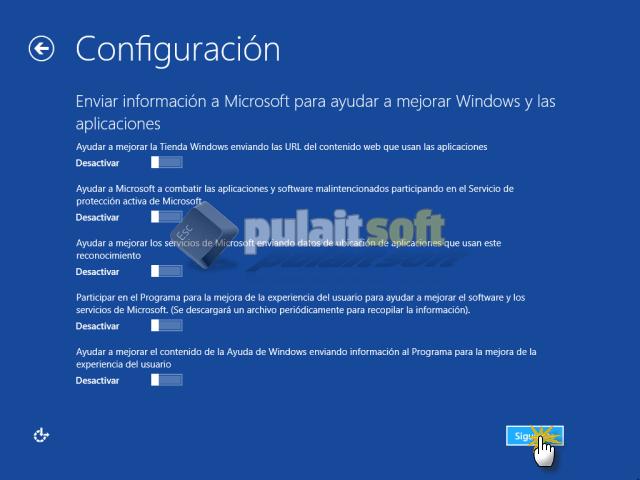 Enviar información a Microsoft
