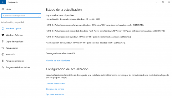 descargando actualizaciones windows 10