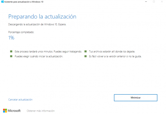 preparación y descarga actualizaciones windows 10