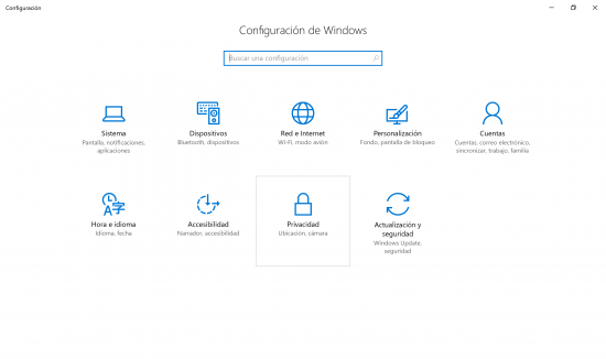 menú configuración windows 10