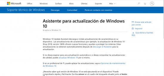 web microsoft para asistente actualización